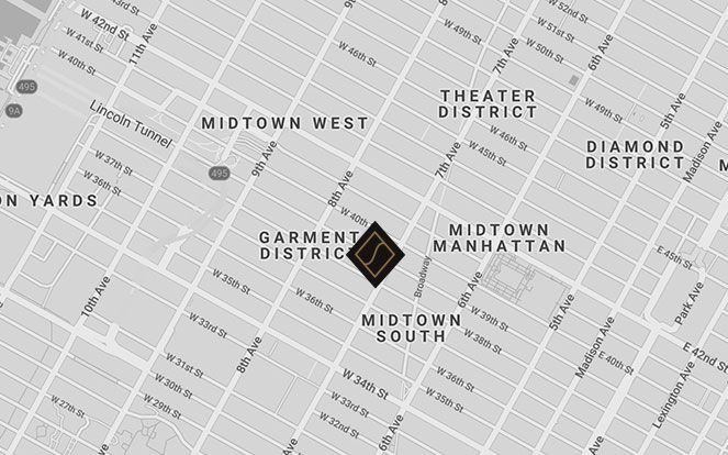 Map of Manhattan, showing The Skylark located in the Garment District, on the corner of 39th street and Fashion Avenue