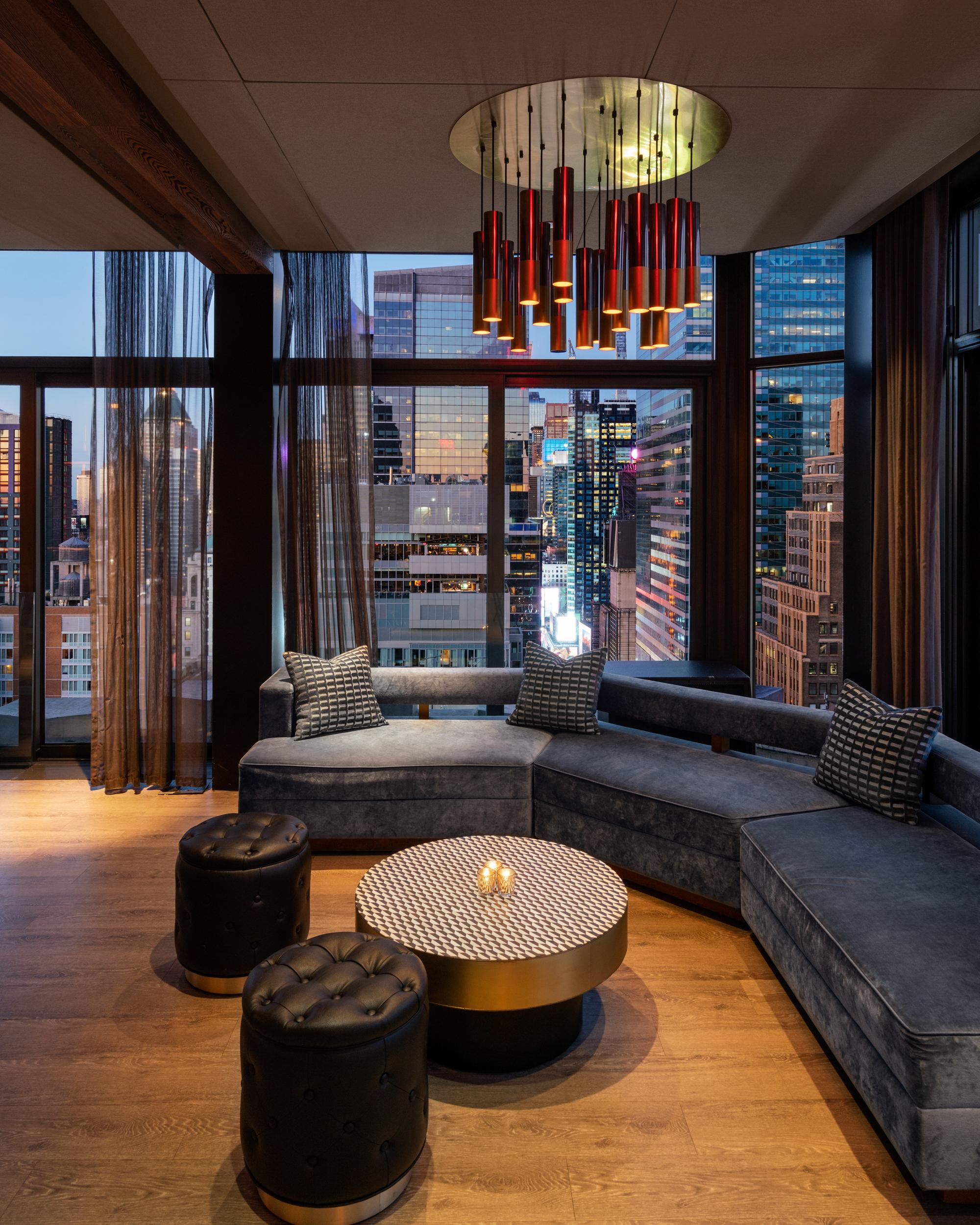 corner couch area, city skyline