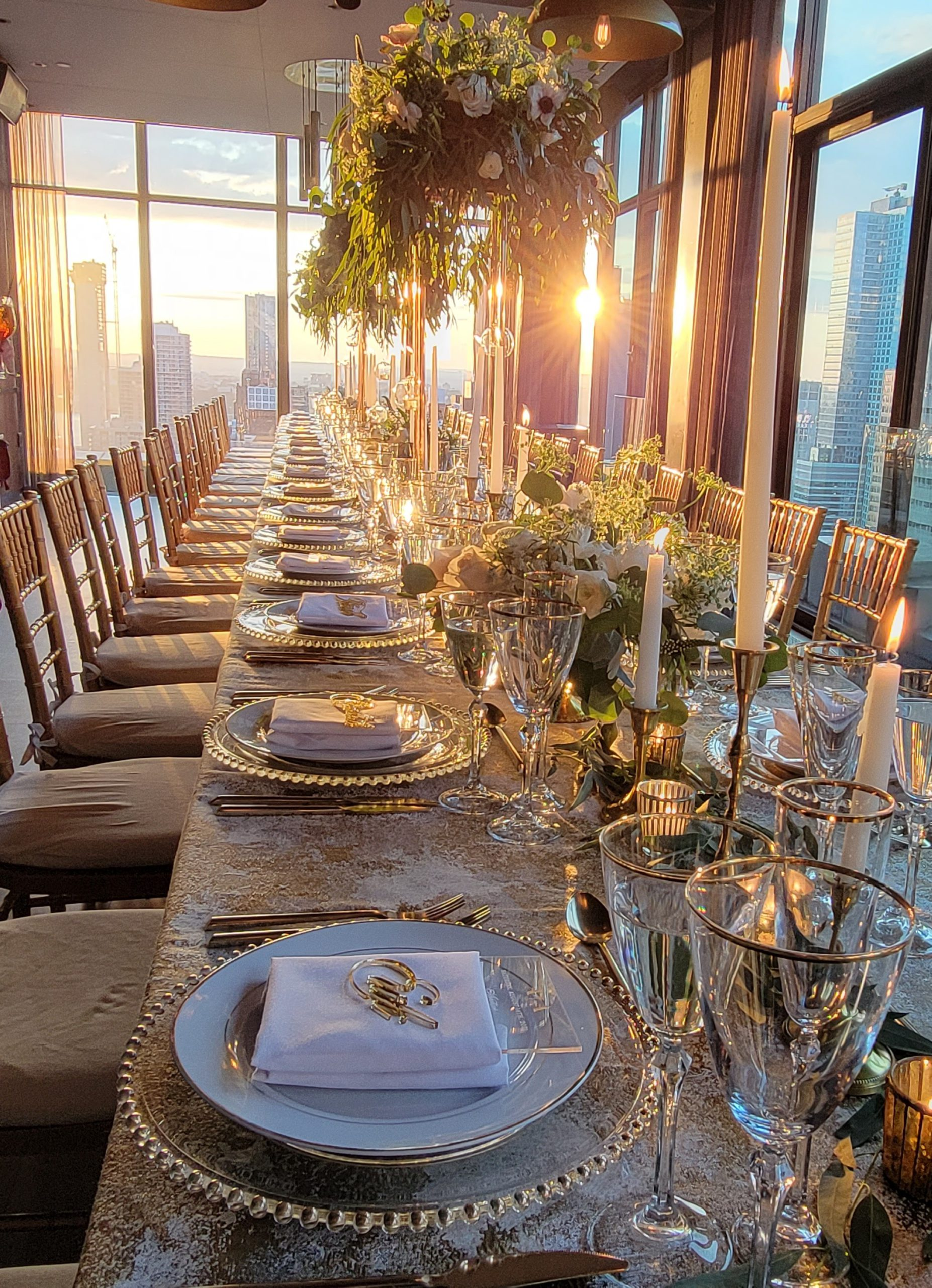 long table with sunset